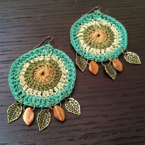 Earth toned cyclic crochet earrings