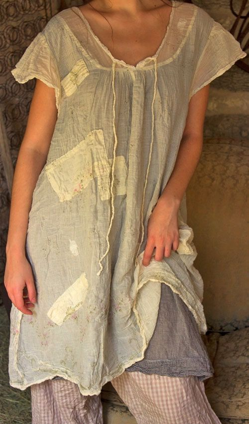 French Cotton Annora Peasant Dress w/ Hand Stitched Patches & Mending...