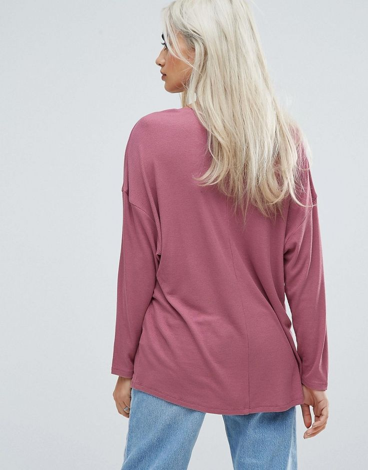 ASOS PETITE Oversized T-Shirt with Batwing Detail - Pink