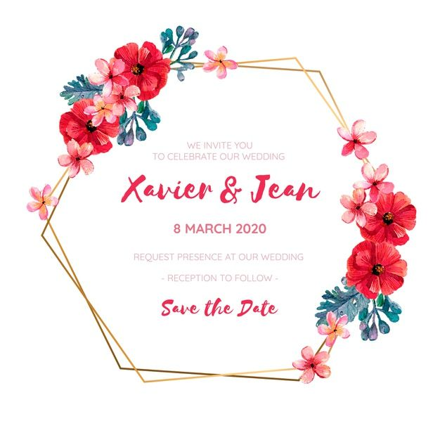 Download Wedding Invitation Frame With Red Watercolor Flowers For