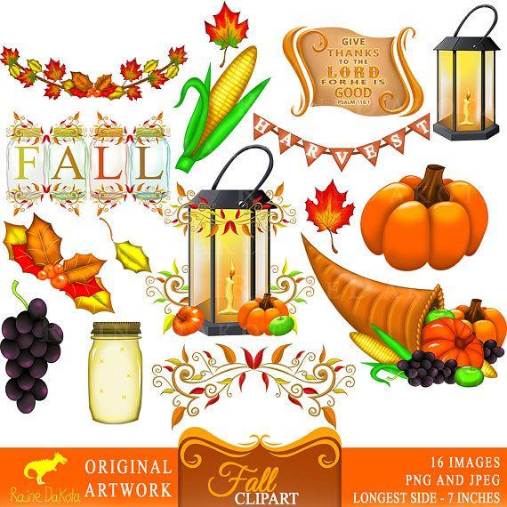 Fall Clipart Autumn Clipart Thanksgiving Graphics Fall