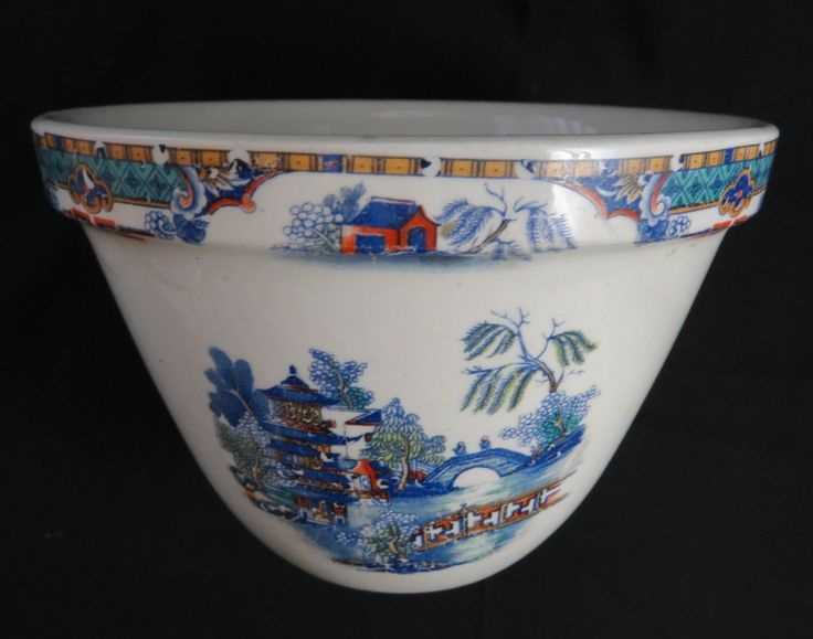 Vintage English Pottery Bowl - Small Deep Blue and White Asian Mixing Bowl…