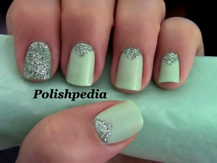 Triangle Nails with Glitter.  I love how these nails turned out.  They are elegant and eye catching.      Watch the video tutorial @ http://www.polishpedia.com/triangle-nails-with-glitter.html
