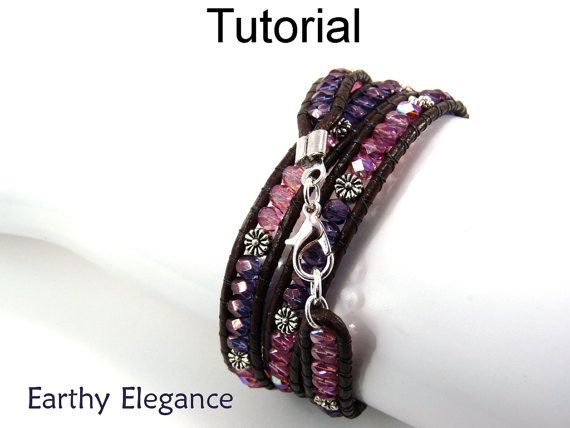 Beading Tutorial Pattern, Beaded Leather Wrap Bracelet, Multi Wrap, Bead Bracelets, Jewerly Instructions, PDF Cord Bracelet #4762