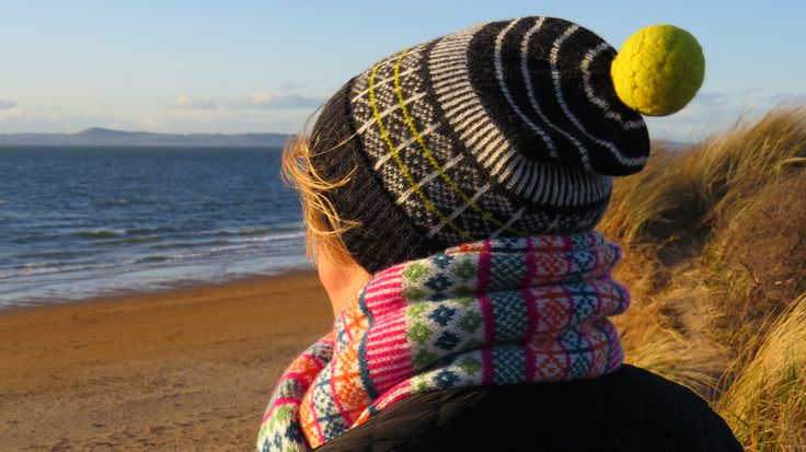 bobblehat and scarf on a beautiful Spring evening on Gullane beach, East Lothian https://www.etsy.com/uk/shop/JaneRdesigns