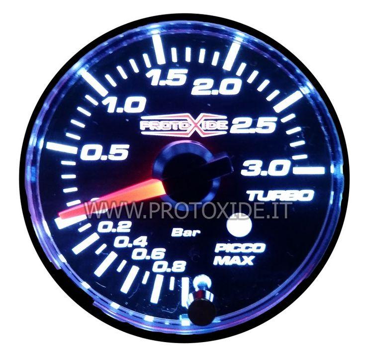 Manometro pressione turbo fino a 3 bar con memoria e allarme 60mm al prezzo di 87,68 € Euro.  Manometro turbo a lancetta con doppia colorazione, scala italiana e fantastico logo ProtoXide centrale.