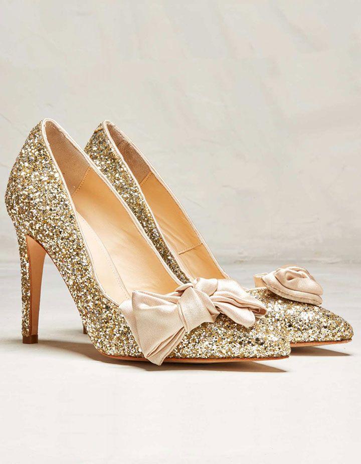 Statement Heels For Holiday Brides By Rachel Simpson ~ Bonita Gold Glitter. Glitter  PumpsGold GlitterBridal ...