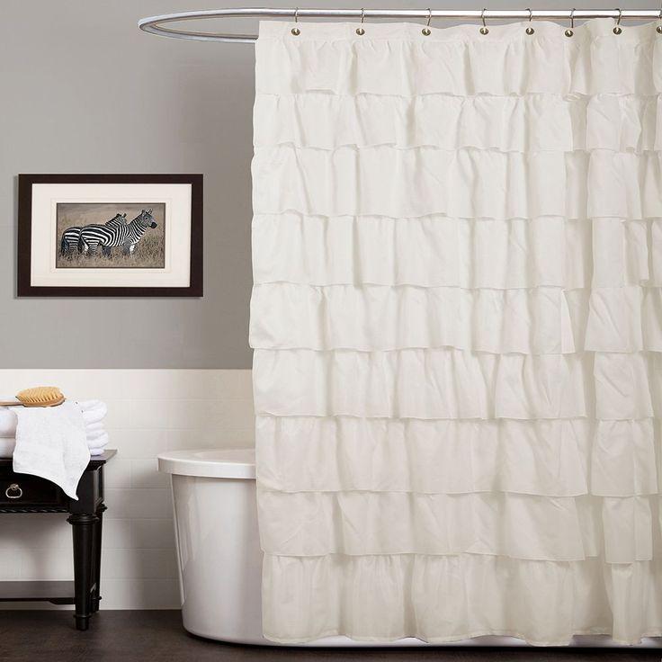 Lush Decor Ruffle Fabric Shower Curtain, White
