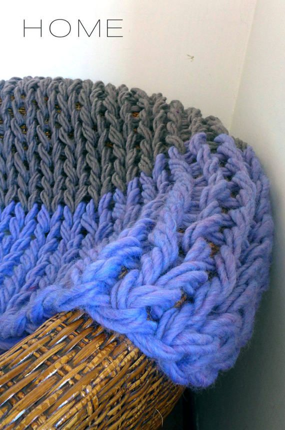 Super chunky knit baby blanket throw bulky yarn arm knitting giant wool pram stroller sofa crib cot blanket thick wool extreme READY TO SHIP