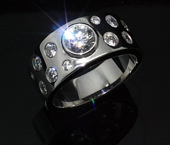 Big bold 18ct. White gold and Diamond Dress Ring. Handmade and handset
