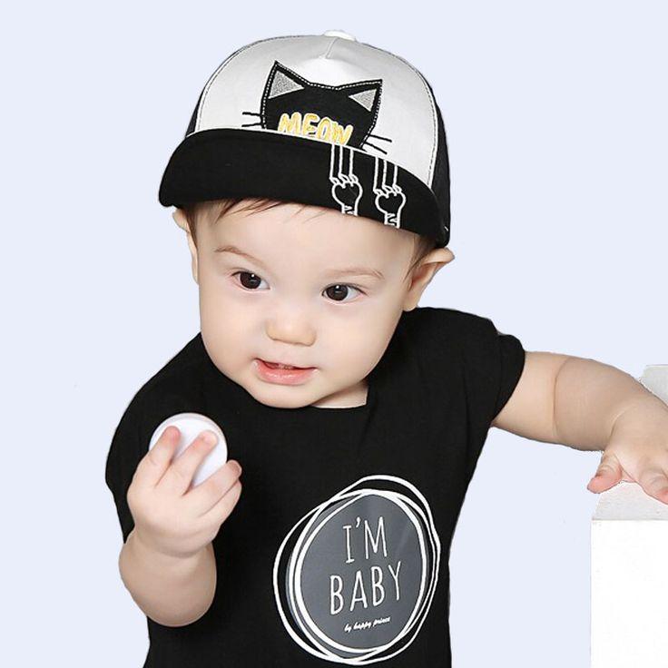 Spring Summer Baby Hat Kids Cute Cat Baseball Cap Palm Baby Boys Girls Beanies Cotton Mesh Caps Infant  Unisex Visors Sun Hat