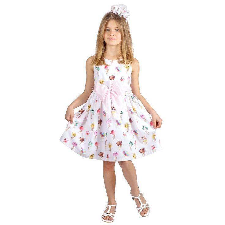 Balloon Chic - Ice Cream Print Cotton Dress with Pink Sash | Childrensalon
