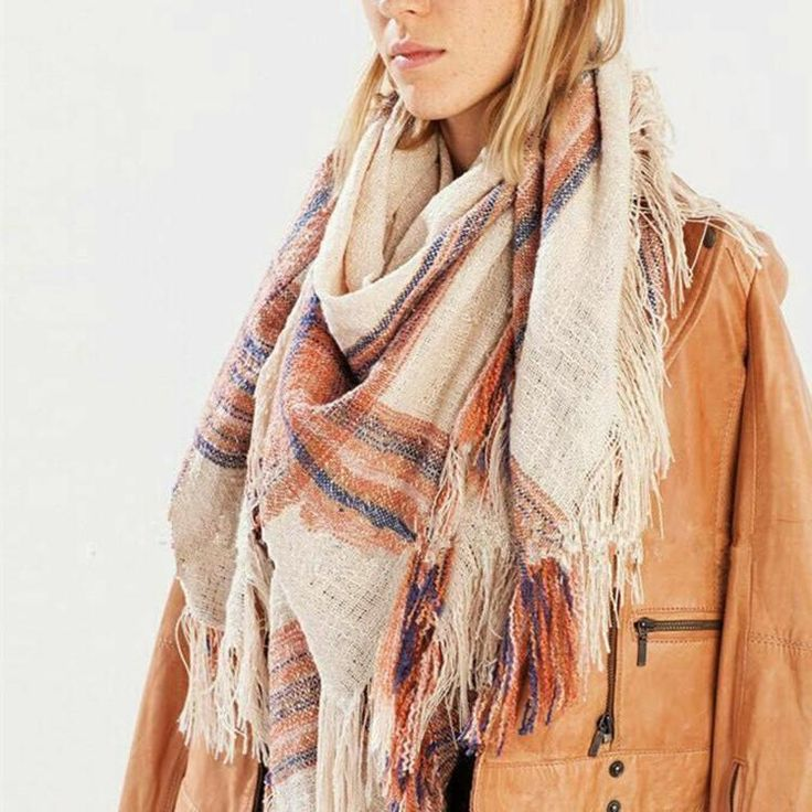 Winter Plaid Warm Acrylic Blanket Scarf – Zorket