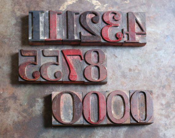 Antique Wooden Letterpress Number Stamps by VintageCrack on Etsy