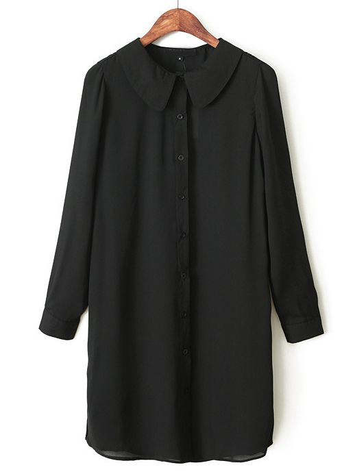 Black Lapel Long Sleeve Slim Chiffon Blouse - Sheinside.com