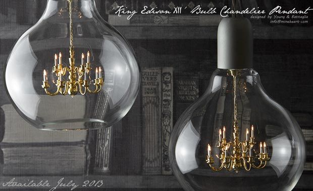 'King Edison XII,' Bulb Chandelier Pendant by Young & Battaglia for Minheart
