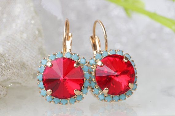 b4d16c69c RED DIANNA EARRINGS, Small Dangle Earrings, Swarovski Earrings, Ruby Red  Earrings, Turquoise