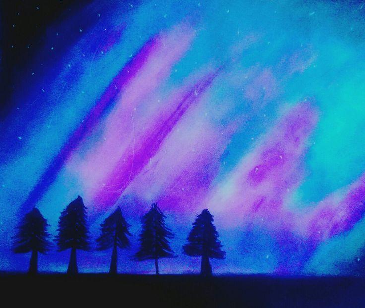 Pasteles azules, morado, rosa,negro, galaxia, bosque