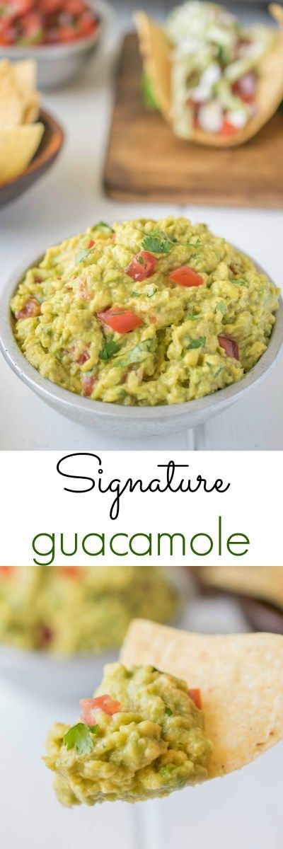 Signature guacamole, fresh avocados are mashed with fresh lime juice, fresh cilantro, chopped tomato and chipotle tabasco for a little kick.