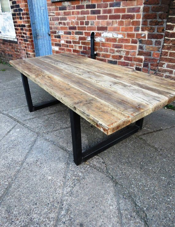 reclaimed industrial chic 10 12 seater solid wood and metal dining tablecafe bar restaurant furniture steel and wood made to measure 473. Interior Design Ideas. Home Design Ideas