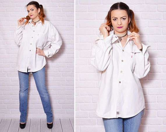 White denim casual shirt made by Levis.  Please check measurements to avoid problems with the size. Make sure you double the measurements where shown (*2):  Label size: L/40 Total lenght: 79.5 cm / 31.5 inches Sleeve lenght: 59,5 cm / 23.5 inches Shoulder to shoulder: 54.5 cm / 21.5 inches *2 Armpit to armpit: 64.5 cm / 25.5 inches *2 Waist: 62.5 cm / 24.75 inches *2 Bottom Width: 61.5 cm / 24.25 inches *2  Label: Levis Condition: very good vintage Colors: W...