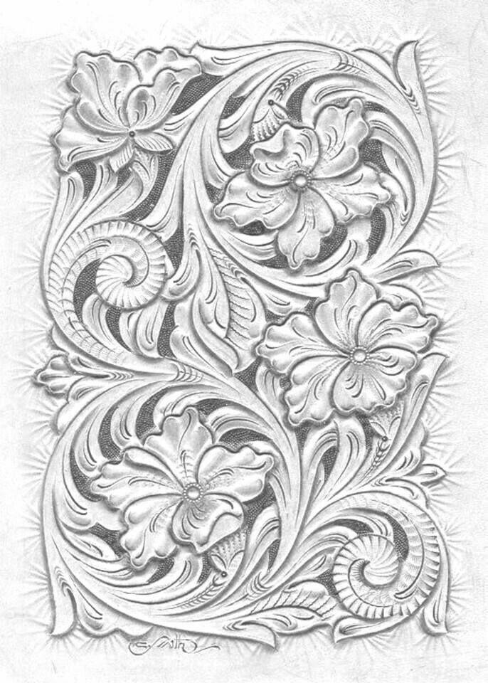 De 907 B 228 Sta Leather Tooling Patterns Bilderna P 229 Pinterest