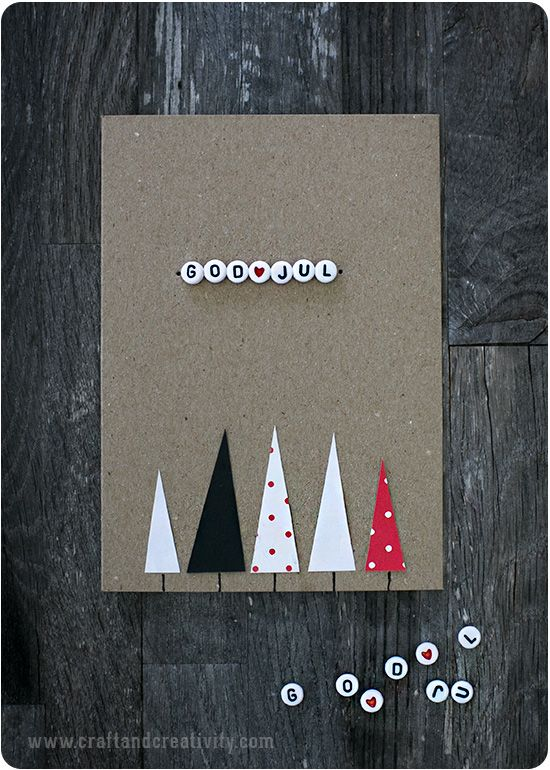 Julkort med bokstavspärlor – Christmas cards with letter beads