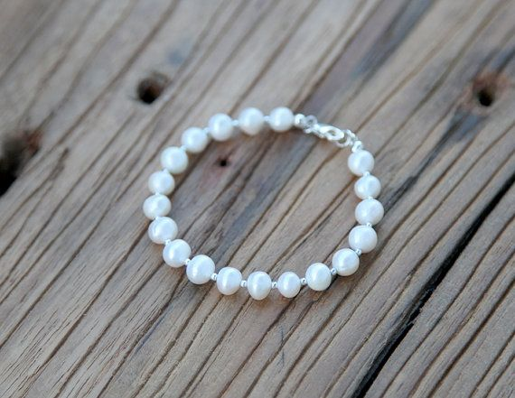 Beaded pearl and sterling silver bracelet by Rosehip Jewelry