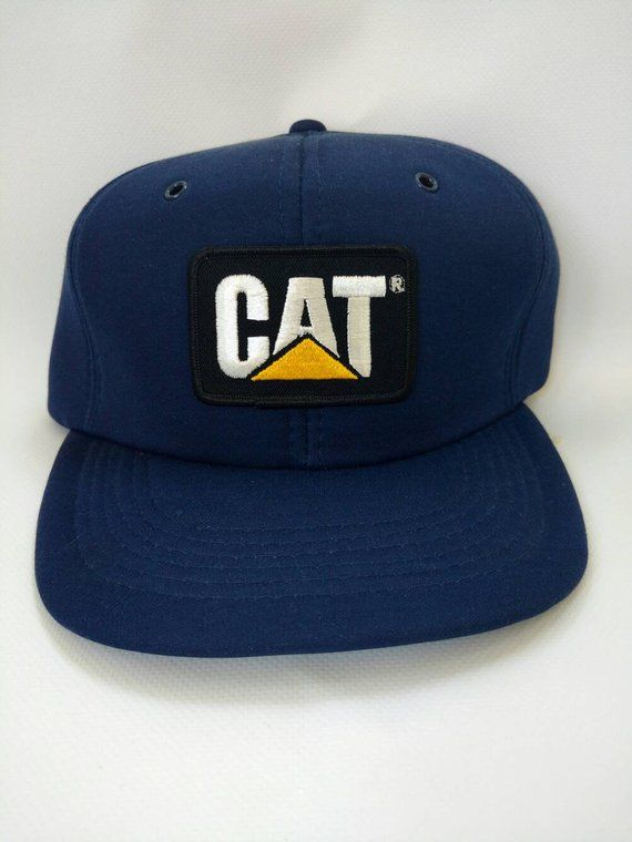 finest selection c0177 e28e1 Vintage Trucker Hat Snapback 1980s 80s Retro Caterpillar Excavator Machine
