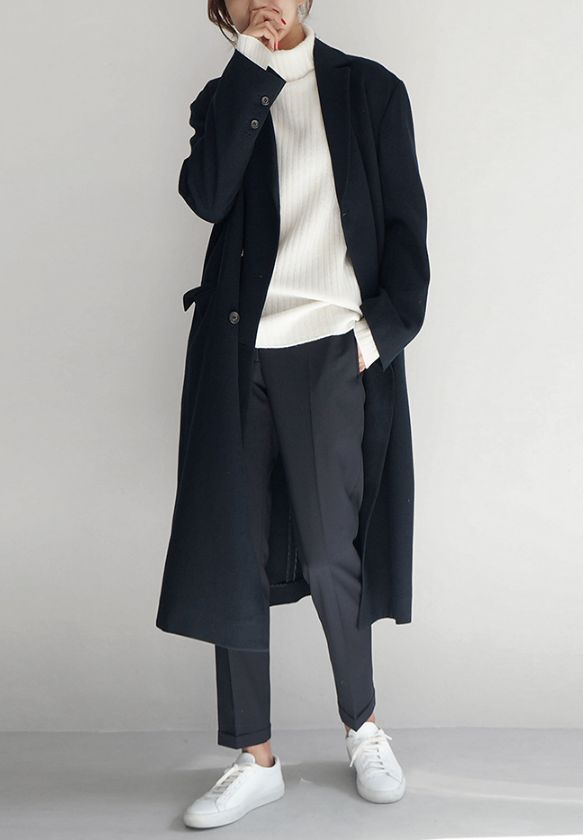 Chic Style - roll neck sweater, tailored trousers & coat