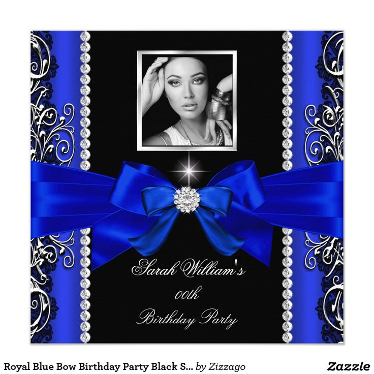 Royal Blue Bow Birthday Party Black Silver Photo 2 5.25x5.25 Square Paper Invitation Card