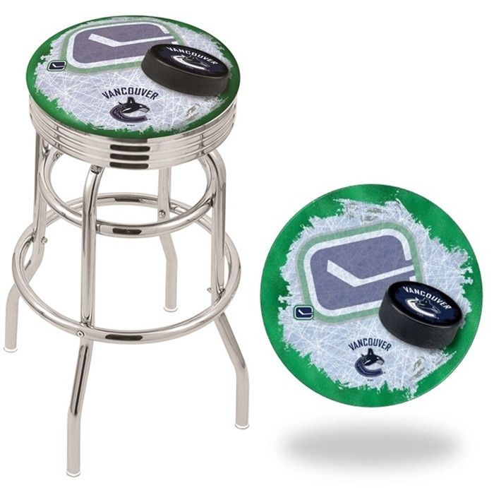 Vancouver Canucks NHL D2 Retro Chrome Ribbed Ring Bar Stool. Available in 25-inch and 30-inch seat heights. Visit SportsFansPlus.com for details.