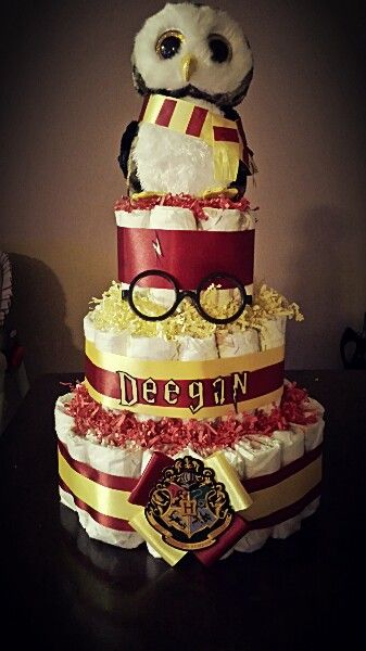 My project for the week..Harry potter diaper cake♡ by Malissa Macias
