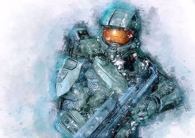 Watercolor Portrait Of Master Chief Based And Inspired By Main Character By Series Game Halo High Quality Meta Master Chief Watercolor Portraits Metal Posters