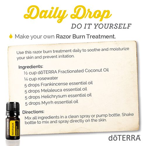 doTERRA for 'DIY Razor Burn Treatment' Here's a quick video and great essential oil usage tip I thought you would be interested in. https://doterra.com/US/en/dailydrop/spa/11  To get daily videos and tips just like this one, download the daily drop app here. https://doterra.com/US/en/university/living/daily-drop