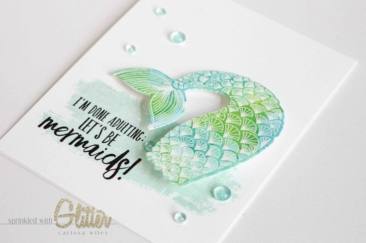 Hi everyone!  I'm so excited.  Today is the big day!  I can finally show you my new favorite stamp set, the Essentials By Ellen Mermaids Tai...