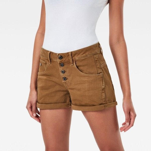 G-Star RAW Arc Button Boyfriend Shorts ($75) ❤ liked on Polyvore featuring shorts, lightweight shorts, stretch shorts, boyfriend shorts, g star raw shorts and g-star raw