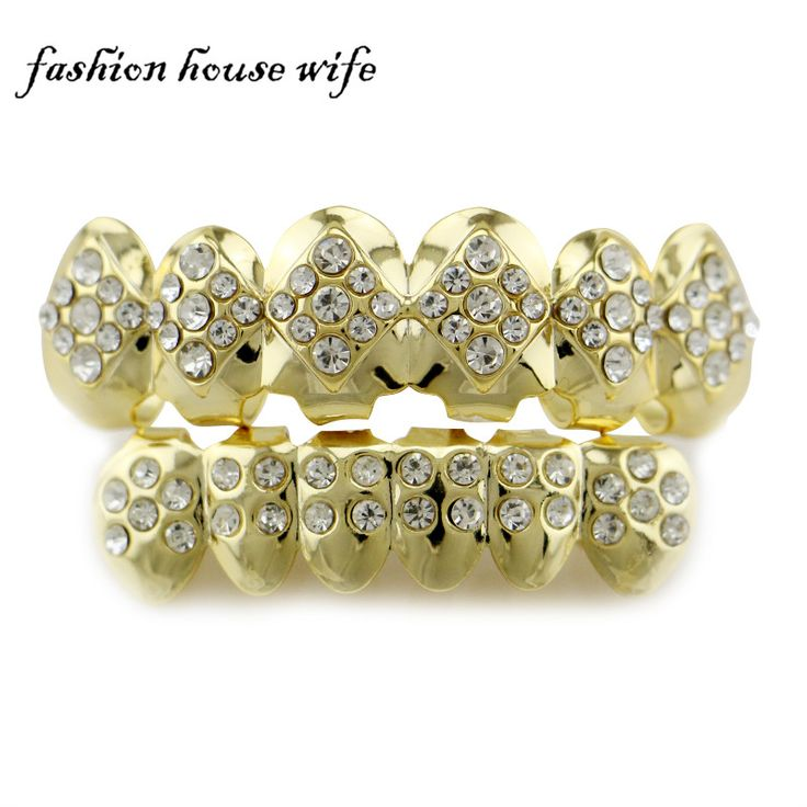 Fashion House Wife Gold Silver Grillz Geometric Rhinestone Top & Bottom Grillz Vampire Teeth Caps Men Woman Jewelry NL0029