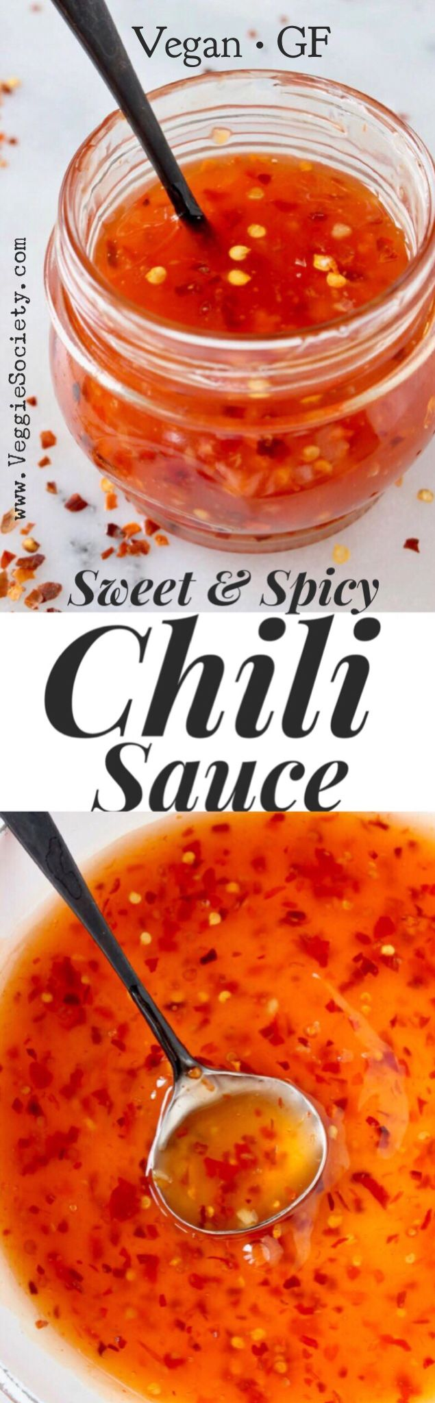 Vegan Sweet and Spicy Chili Sauce Recipe from Scratch with Garlic and Tapioca | VeggieSociety.com @VeggieSociety #1 #vegan #sauce #veganrecipes