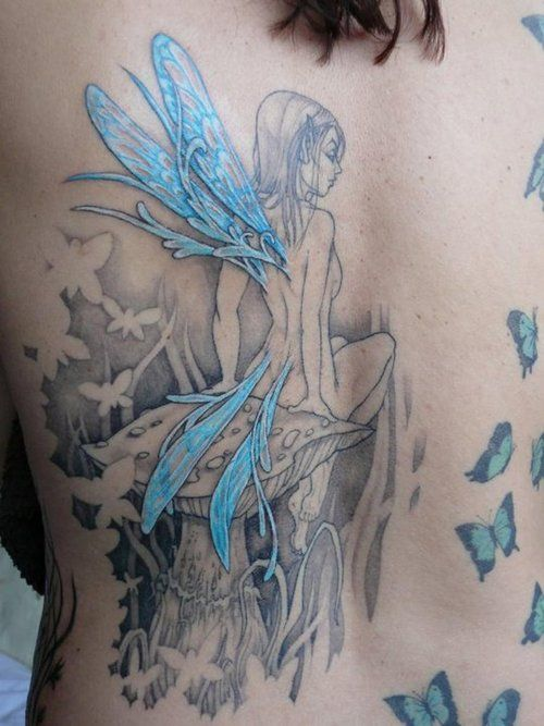 Blue Winged Fairy Tattoo - great color combo