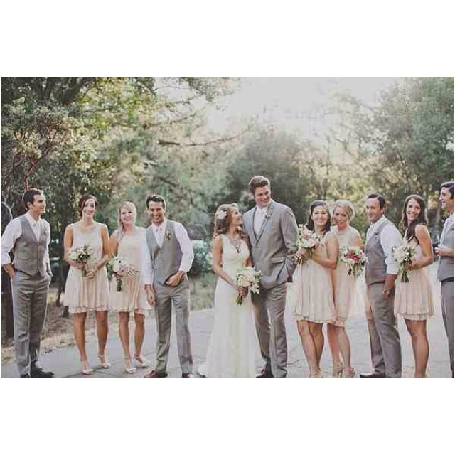 I'm liking these 2 colors together and the more casual look of the bridal party. I like the dresses too!