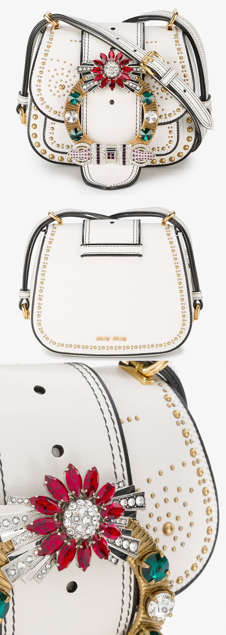 Miu Miu small Dalia stud embellished bag. This white and multi-coloured Miu Miu small Dalia leather stud embellished bag exists because everything looks better when covered in dazzling crystals. This bag is white leather with front flap with adjustable multi-coloured crystal embellished buckle strap. Shoulder Bag. Bling Handbag. Leather Bag. #bags ##bling #crystals #shopping #fashion #fashionista #bagaddict #miumiu #winter #wedding #motherofthebride #affiliatelink #blogger
