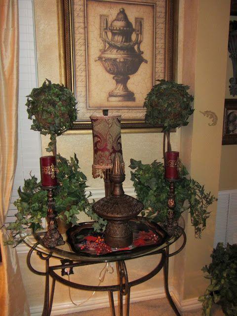 Old World Tuscan Decor | Just disregard the lamp cord, it'll get tucked away!)