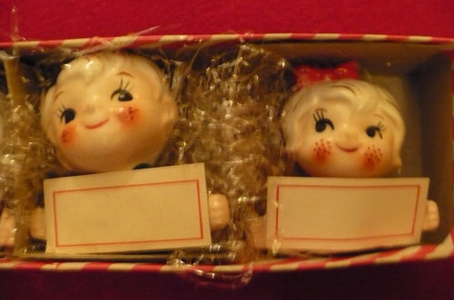 Holt Howard Boy Girl Pixieware Placecard Holders Set of 4