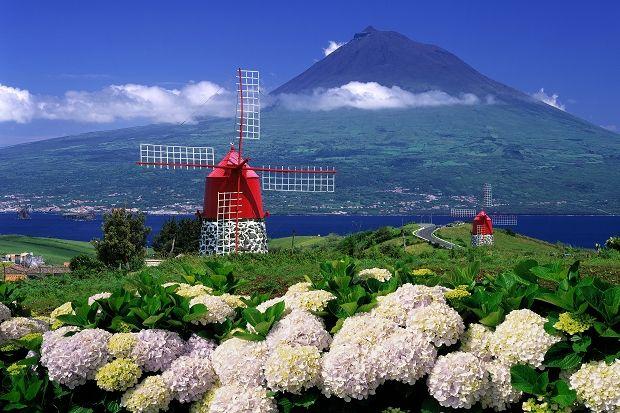 Windmill towards Pico, Azores