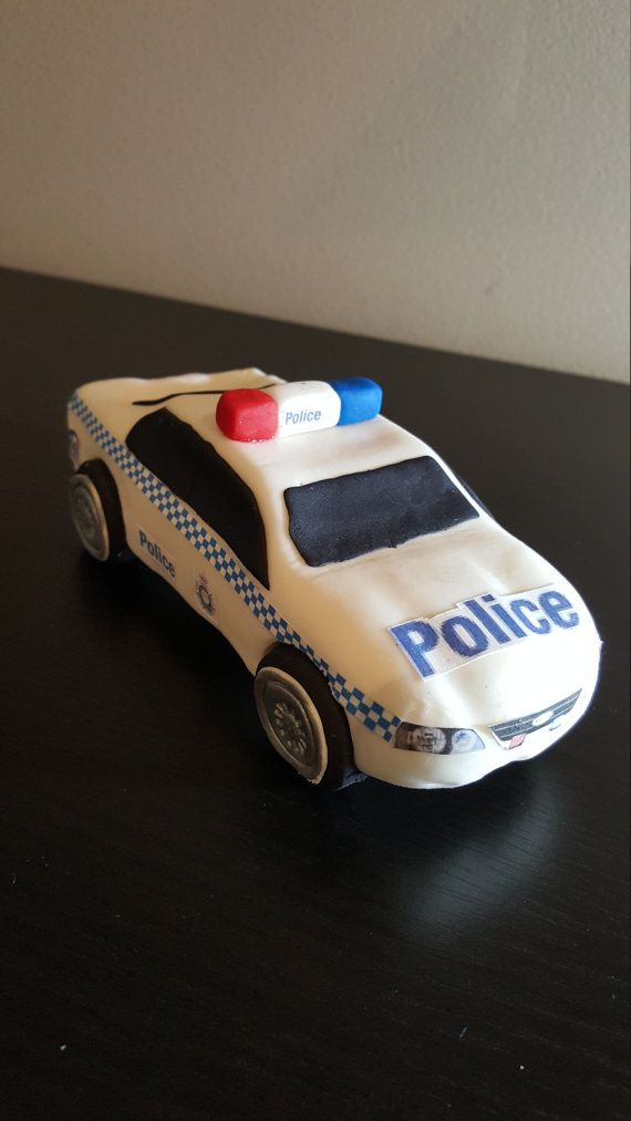 Police car fondant topper edible cake topper, emergency vehicle www.debssweettoppers.com https://www.etsy.com/au/listing/246989896/police-car-edible-fondant-topper-cake?ref=shop_home_active_31