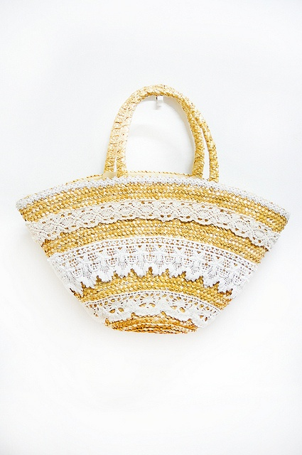 Thrifted lace straw bag