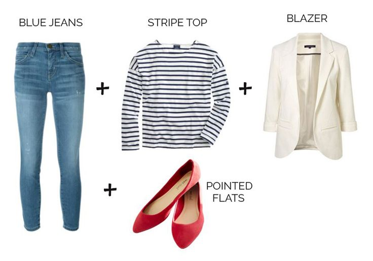 casual+outfit+formula:+jeans,+stripe+top,+red+flats