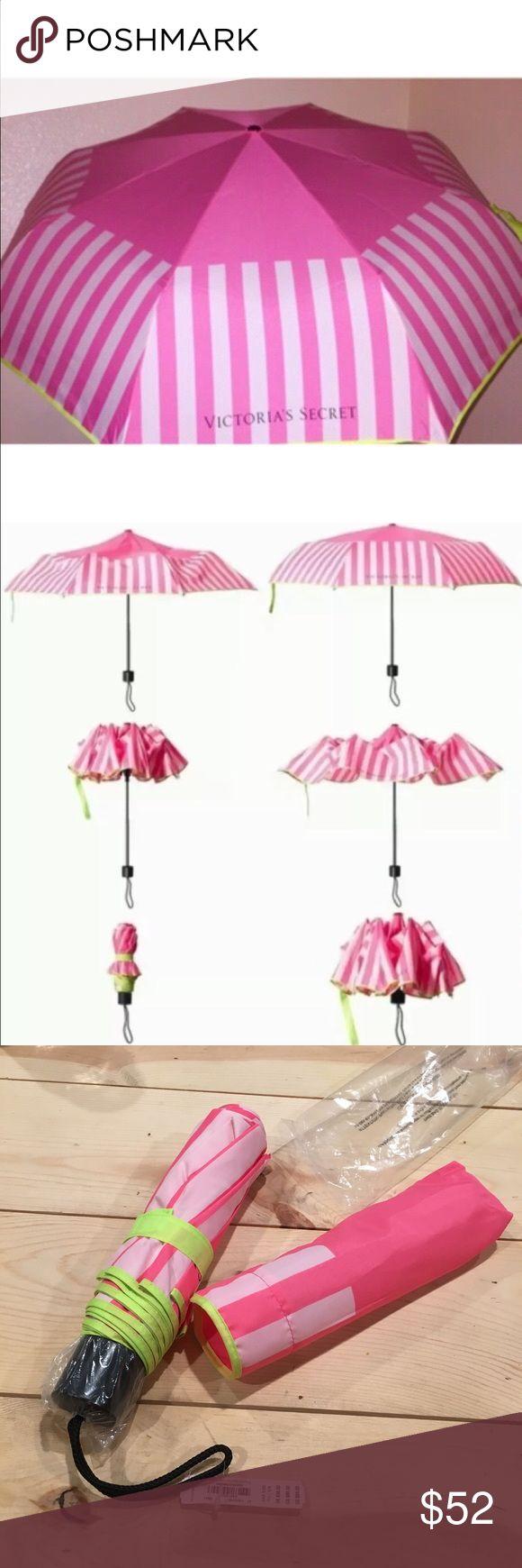 NWT Victoria's Secret umbrella Brand new light/dark pink striped compact umbrella with neon yellow trim, strap, and carrying case. Victoria's Secret Accessories Umbrellas