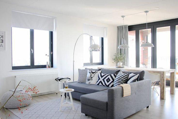 Grey sectional sofa living room scandinavian with white window treatment diamond pattern rug